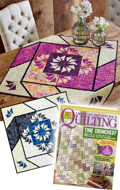 Paddlewheel in Batiks staged quilt photo, Reclaimed West Paddlewheel, and American Patchwork & Quilting Magazine Cover