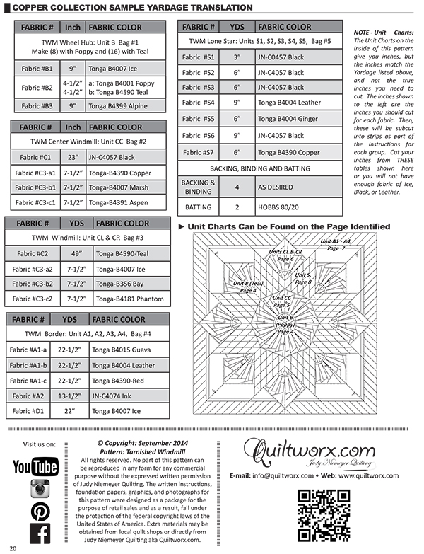Page 20 Yardage Chart for Copper Collection Sample