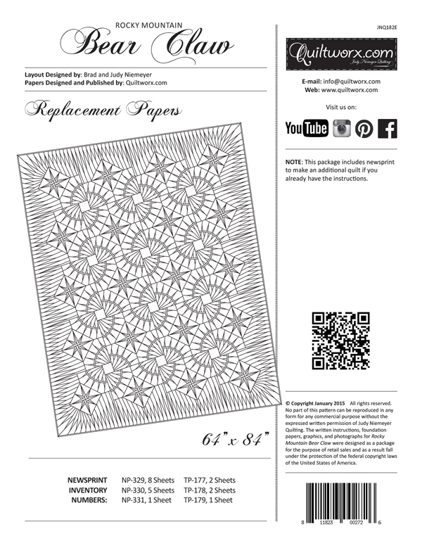 Rocky Mountain Bear Claw Paper Piecing Quilting Pattern by Judy Niemeyer