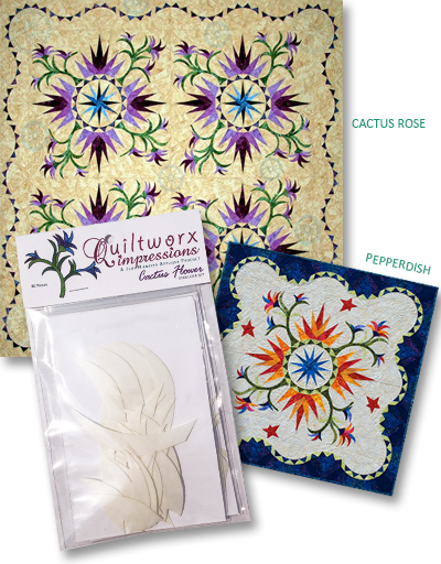 Cactus Flower Applique Stabilizer Kit used for both the Cactus Rose and Pepperdish quilt patterns.