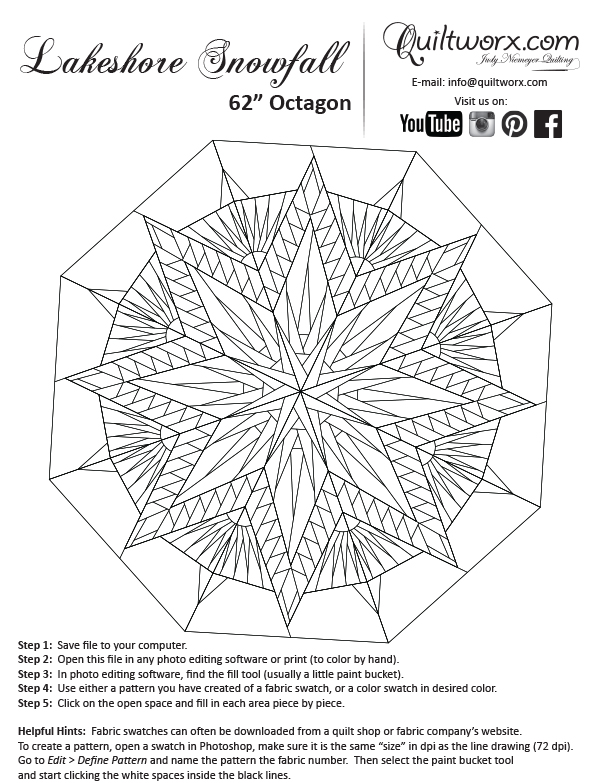 Line Drawing Of Quilt : Lakeshore snowfall