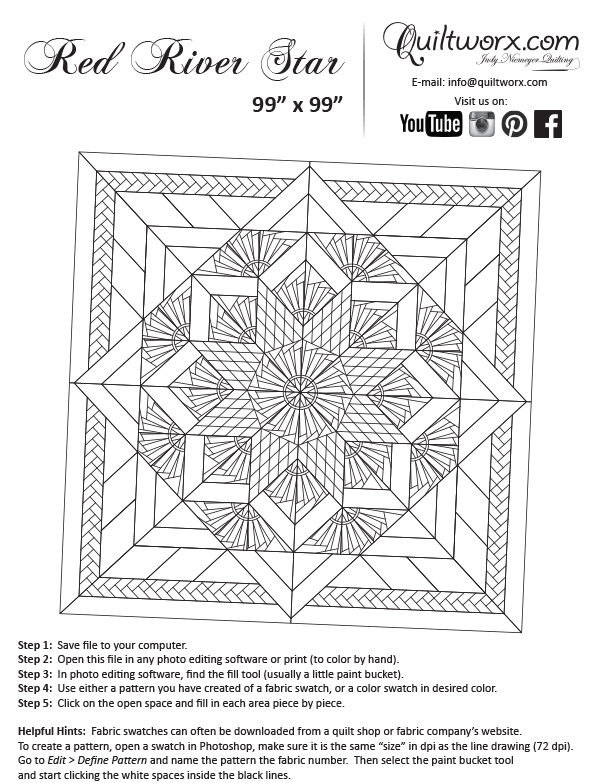 Line Art Quilt Pattern : Red river star