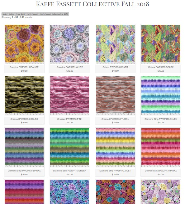 Kaffe Fassett Collective Fall 2018 Swatches