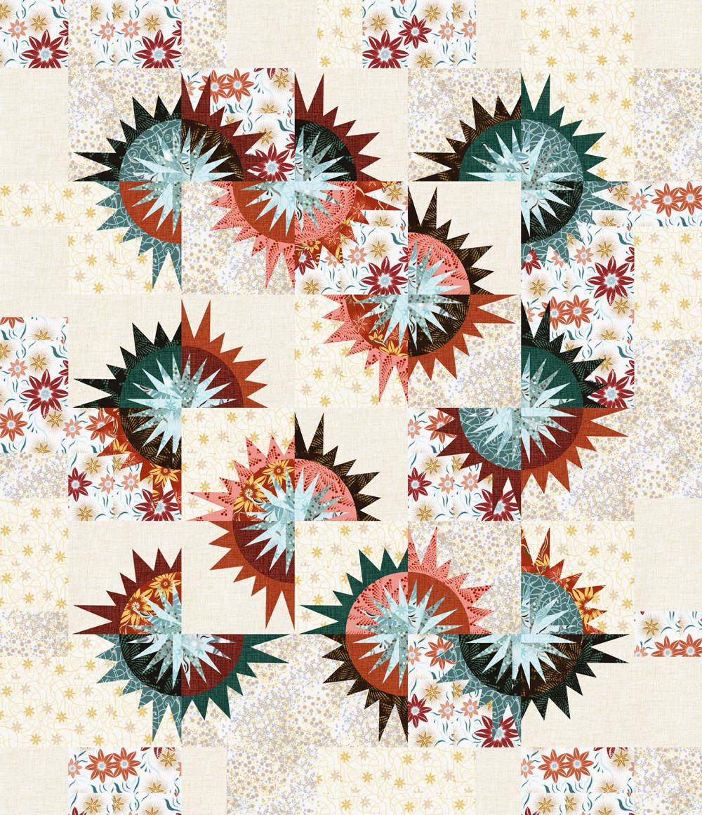 Sunflower Illusions in Desert Rose 62x72 • 1 Left • $160.00
