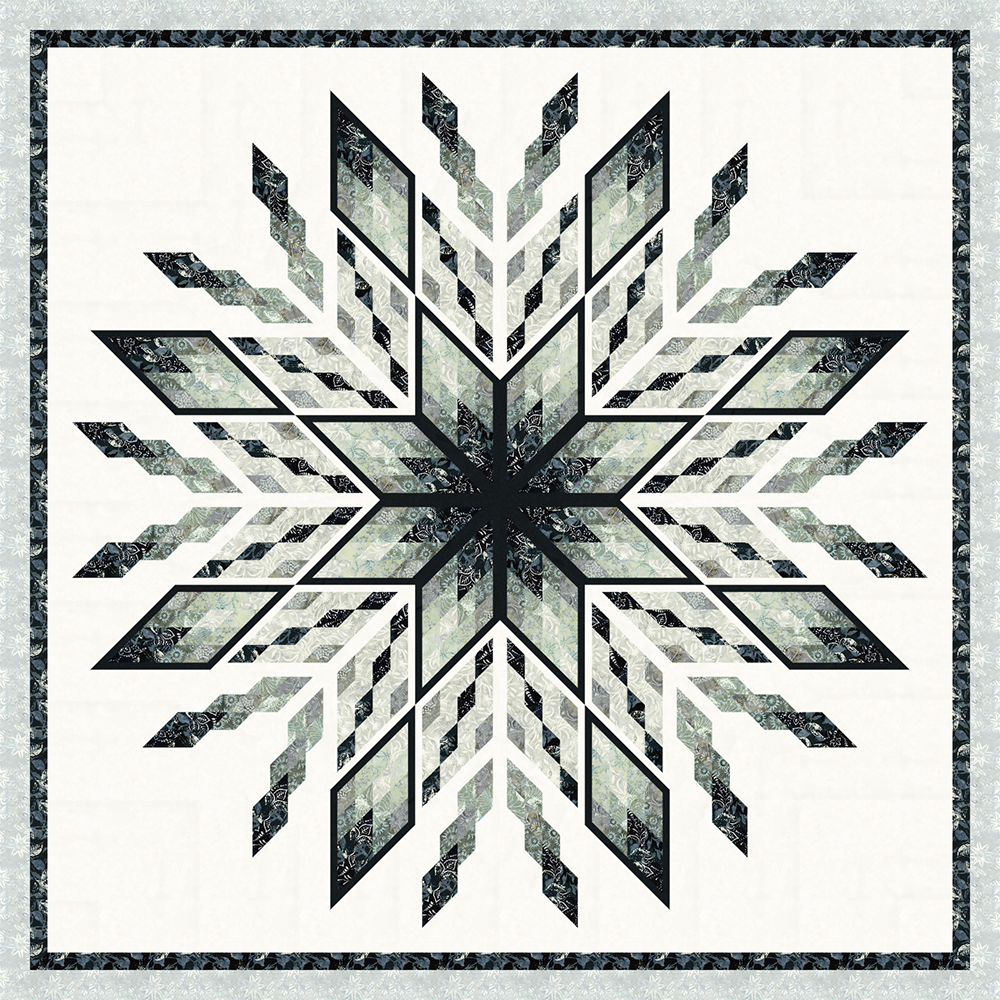 Ice Castles in Titanium Mini Collection 1 Left • 100x100 $210.00 Fabric Only $272.00 Kit with Pattern